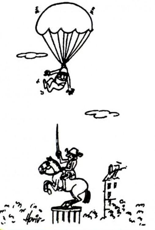 Картинка  про парашютистов, памятник черная