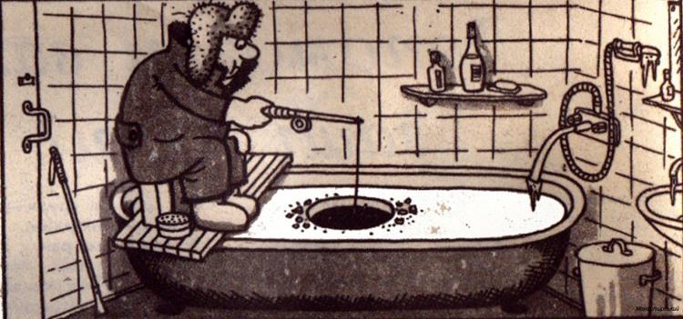 Картинка  про ванну, холод и рыбаков