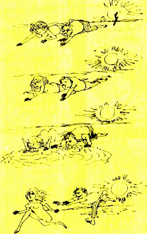 Картинка  про мужчин, женщин, пустыню и жажду