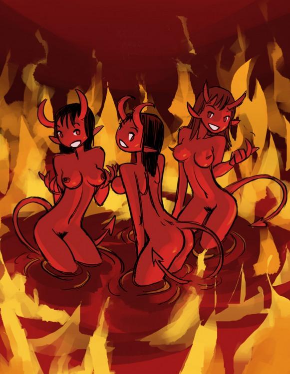 Картинка  про ад, черта пошлая