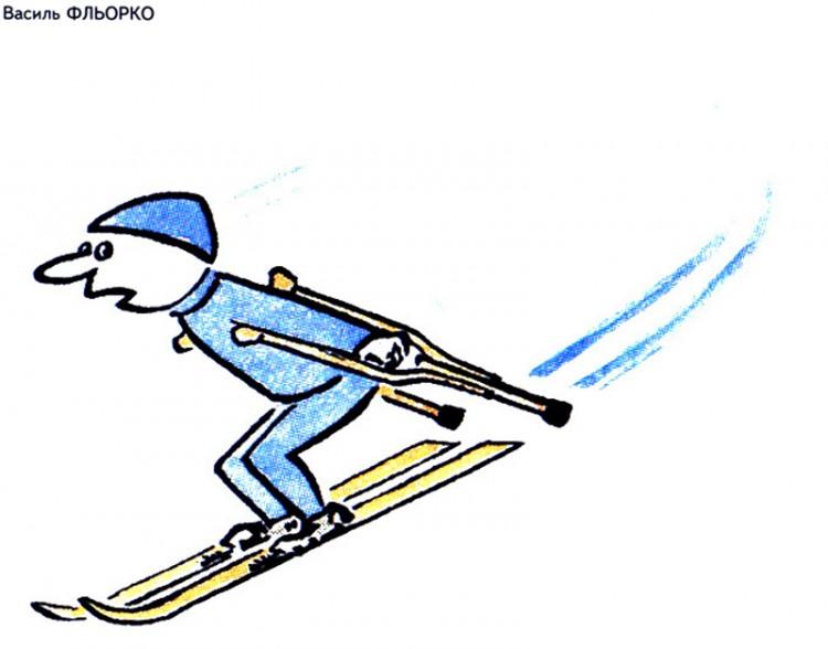 Картинка  про лыжников черная