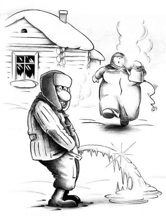 Картинка  про мочеиспускание, мороз черная