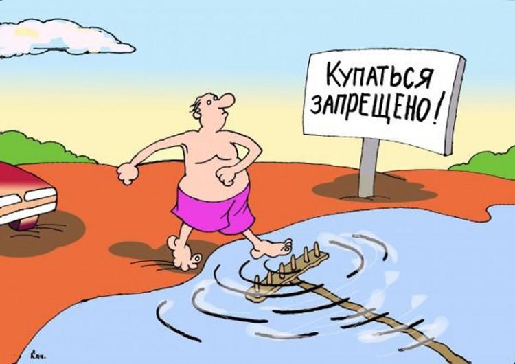 Картинка  про купание и грабли