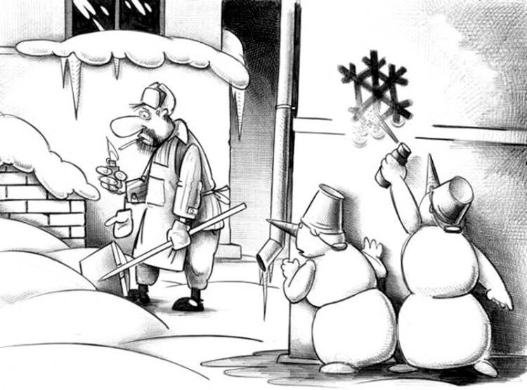 Картинка  про снеговика и дворников
