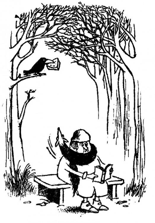 Картинка  про ворону, сыр, лису черная