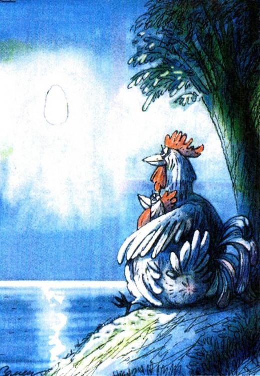Картинка  про кур, луну и яйца