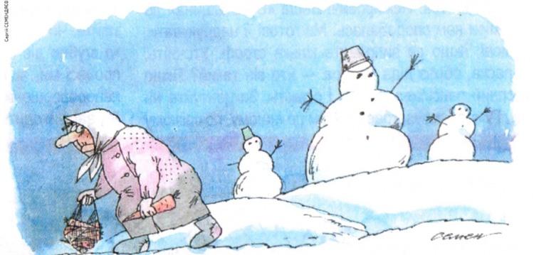 Картинка  про снеговика, морковку и бабушек