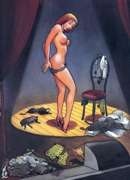 Картинка  про стриптиз, стриптизершу, суфлера, интимный пошлый
