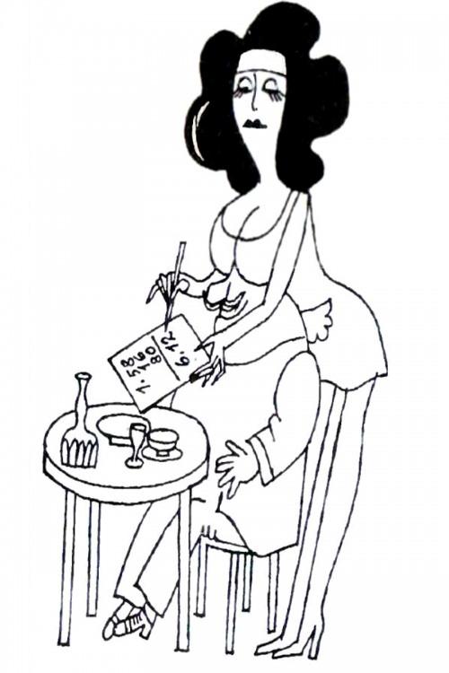 Картинка  про официантов и женскую грудь
