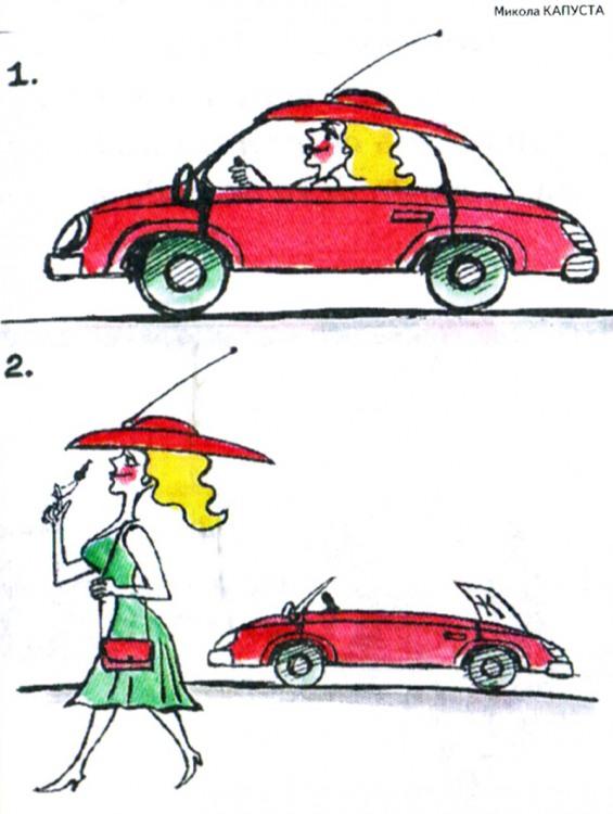Картинка  про женщин за рулем и шапку