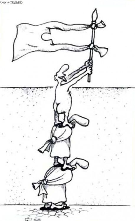Картинка  про сумасшедших и флаг