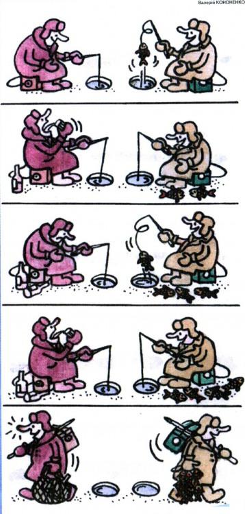 Картинка  про рыбаков, лед комикс