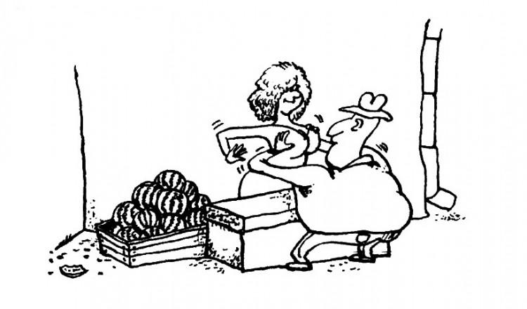 Картинка  про арбуз, женскую грудь пошлая