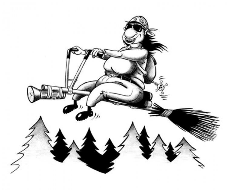 Картинка  про ведьму и метлу