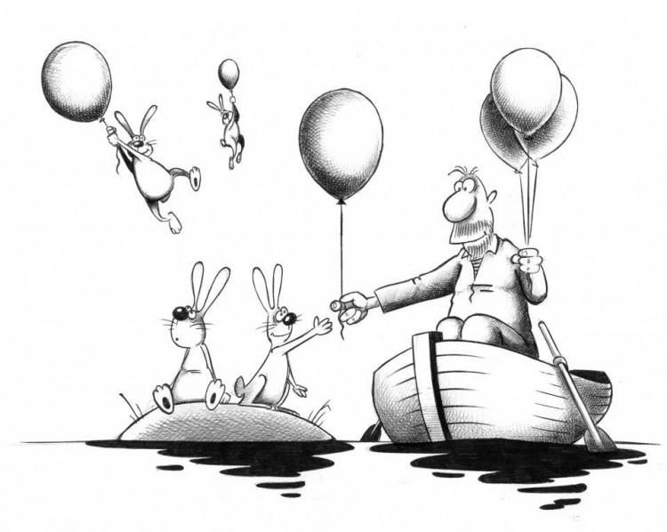 Картинка  про деда мазая и шарики