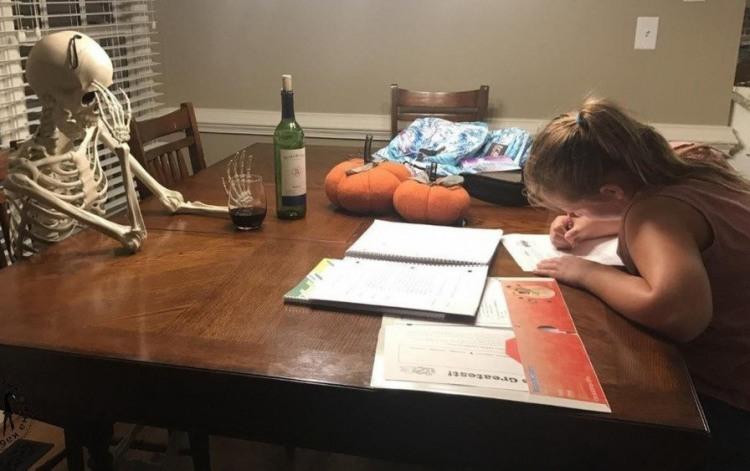 Фото прикол  про домашнюю работу, скелет черный