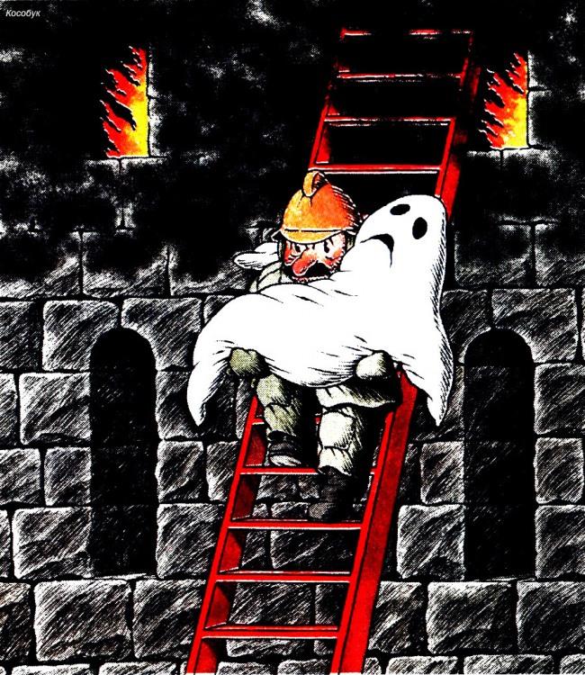 Картинка  про пожарных, призраков и пожар