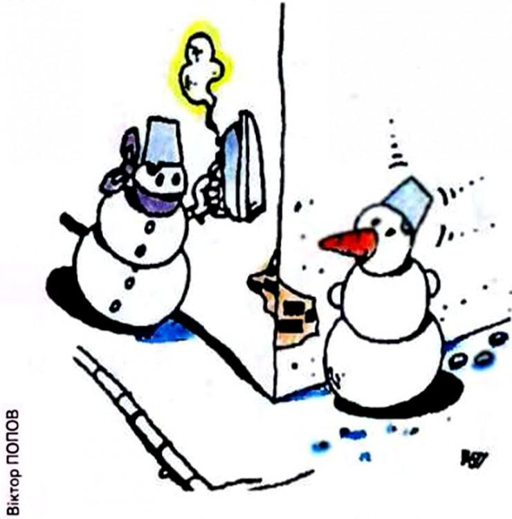 Картинка  про снеговика и утюг