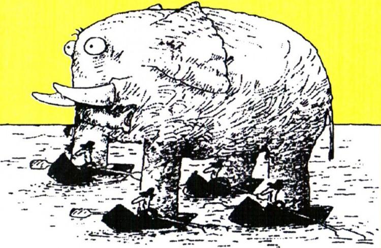 Картинка  про слонов и лодку
