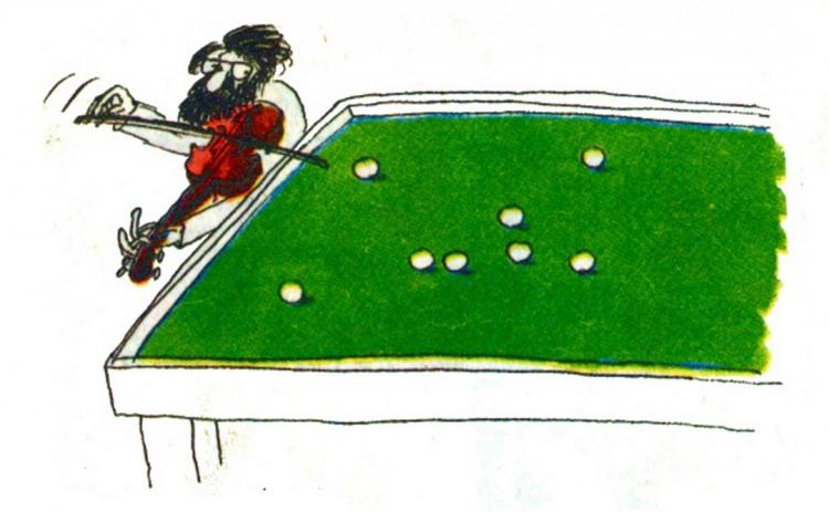 Картинка  про бильярд и скрипку