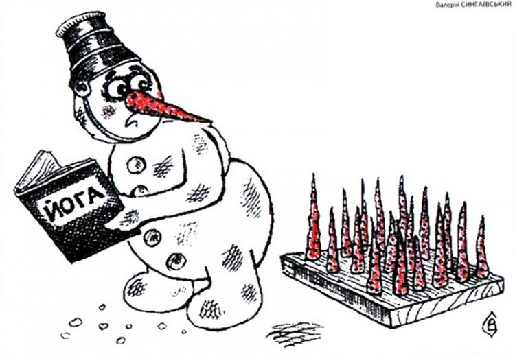 Картинка  про снеговика и йогу
