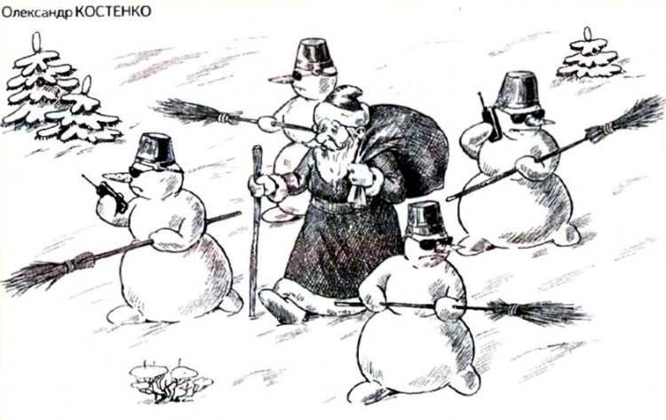 Картинка  про деда мороза и снеговика