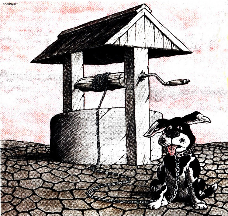 Картинка  про колодец, собак, цепи черная