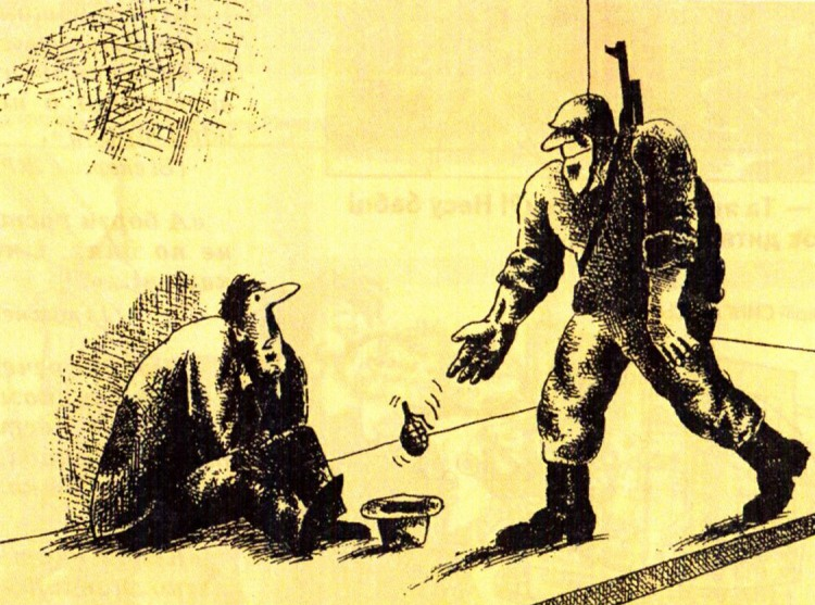 Картинка  про нищих, военных, гранату жестокий