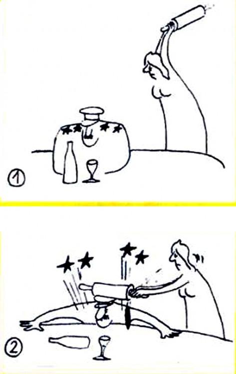 Картинка  про мужа, жену, скалку, военных и звезду