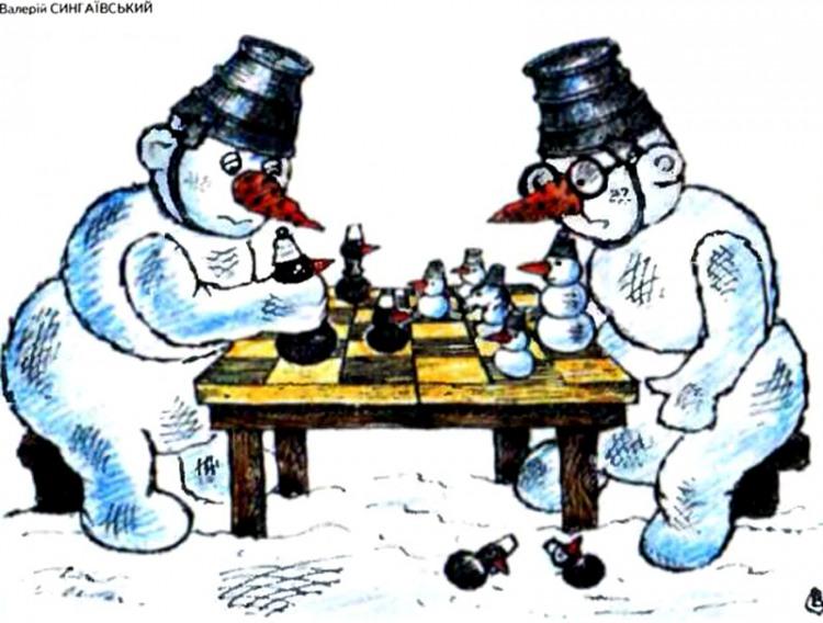 Картинка  про снеговика, шахматистов и шахматы