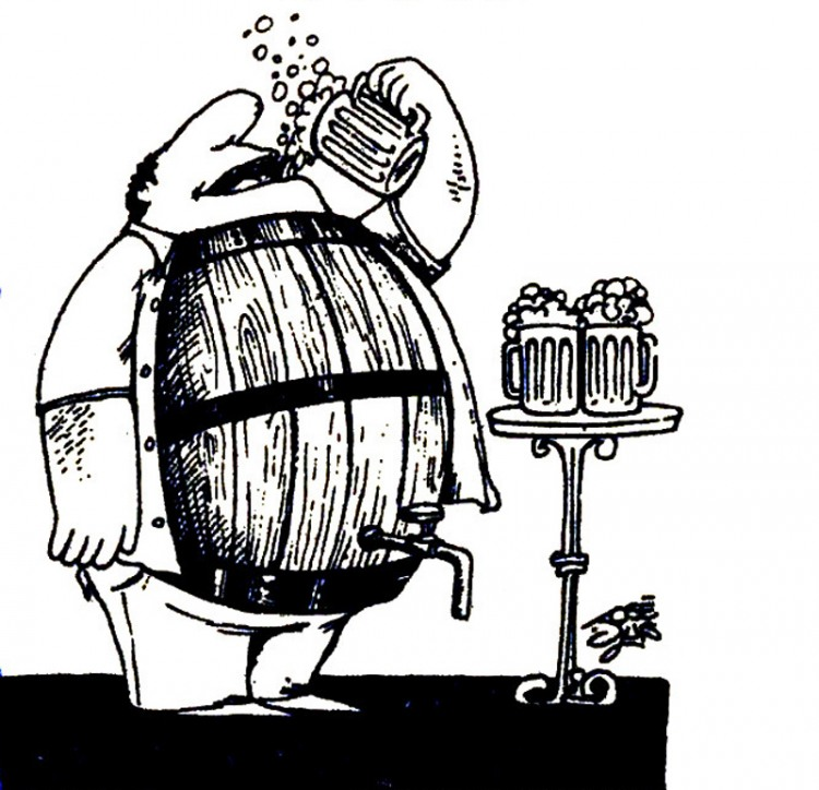 Картинка  про пиво, живот и бочку
