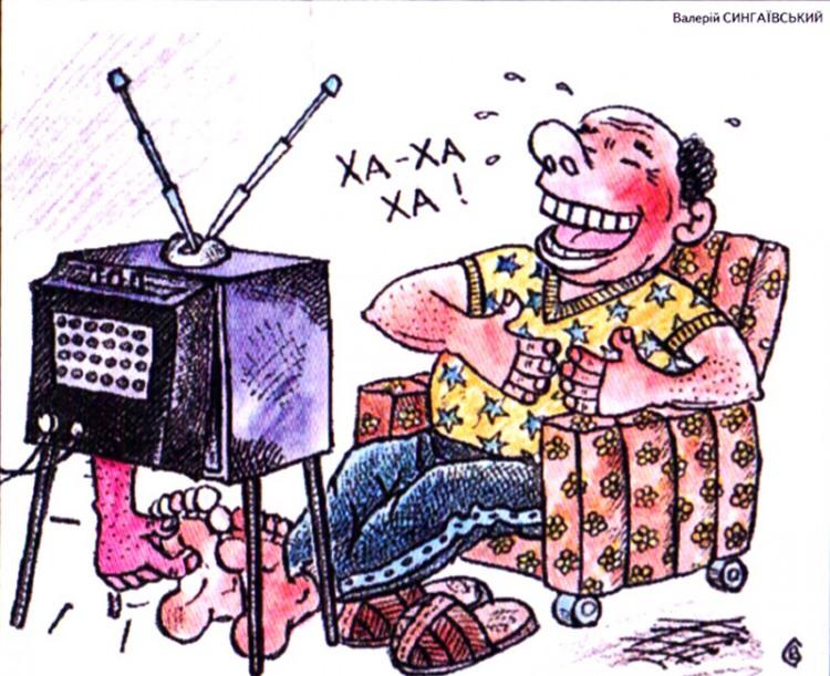 Картинка  про телевизор, щетку и смех
