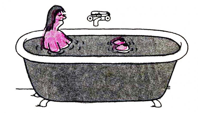 Картинка  про ванну, женскую грудь пошлая