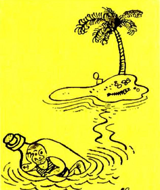 Картинка  про бутылку и необитаемый остров