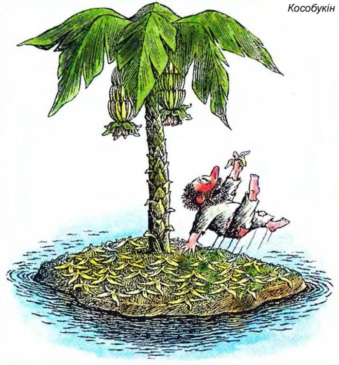 Картинка  про необитаемый остров и банан