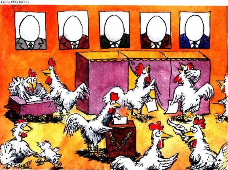 Картинка  про яйца, кур и выборы