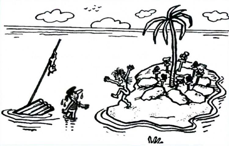 Картинка  про необитаемый остров, мужчин, женщин черный