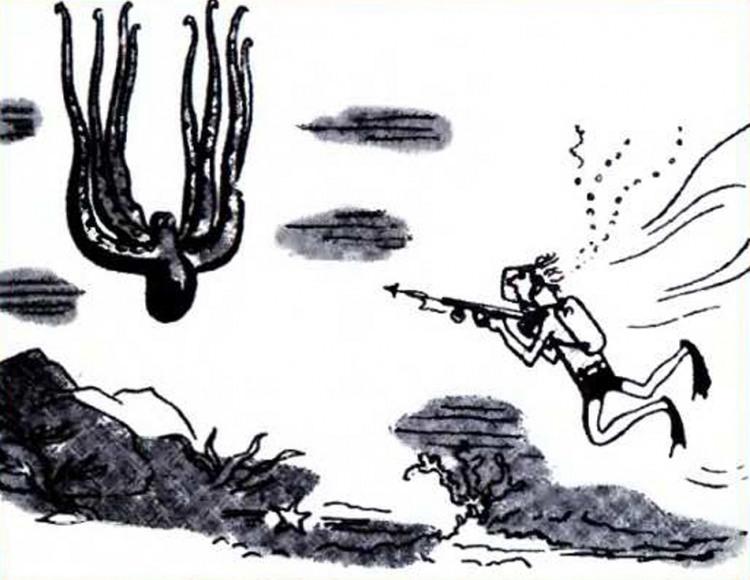 Картинка  про осьминогов и водолазов