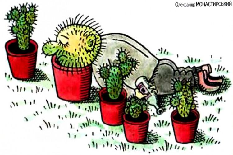 Картинка  про пьяных и кактус