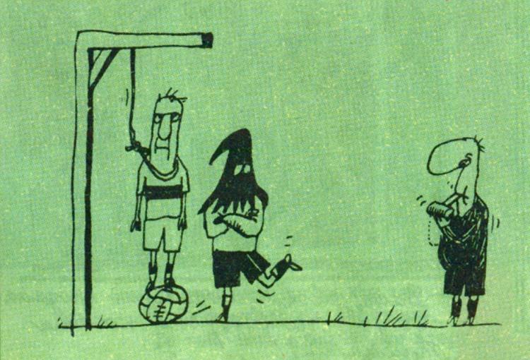 Картинка  про футбол, казнь черный