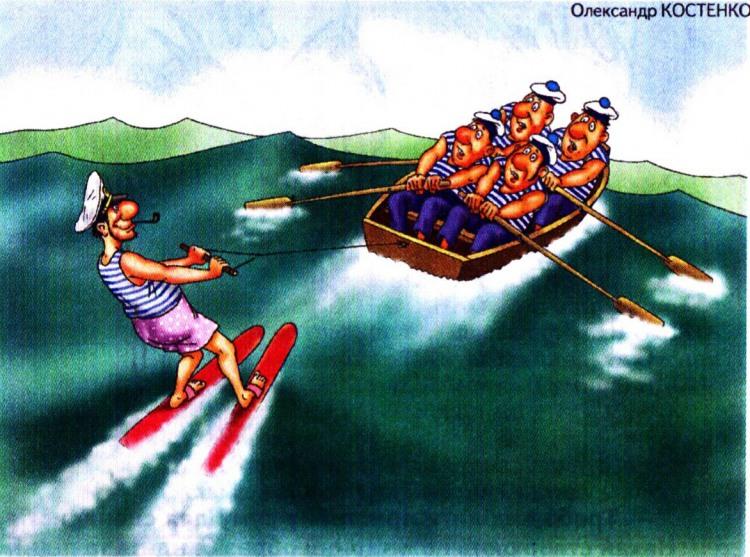 Картинка  про моряков и лыжников