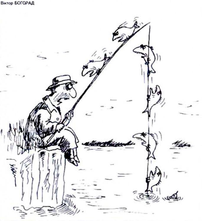 Картинка  про рыбаков, пиранью черный