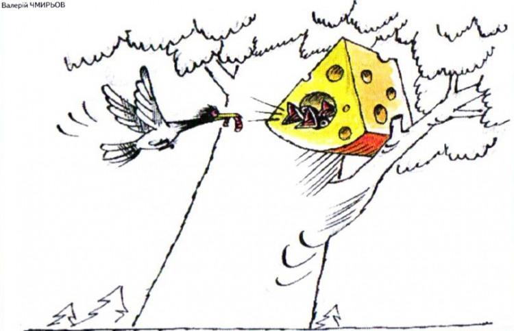 Картинка  про птиц, сыр и гнездо