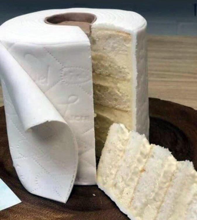 Фото прикол  про туалетную бумагу и торт
