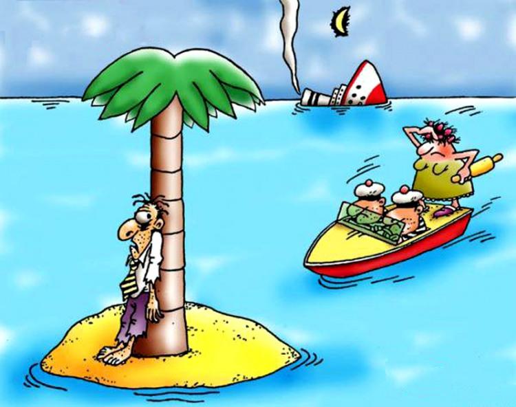 Картинка  про необитаемый остров, мужа, жену, скалку и кораблекрушение