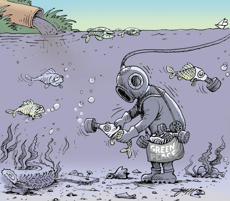 Картинка  про противогаз, рыбу, загрязнение черный