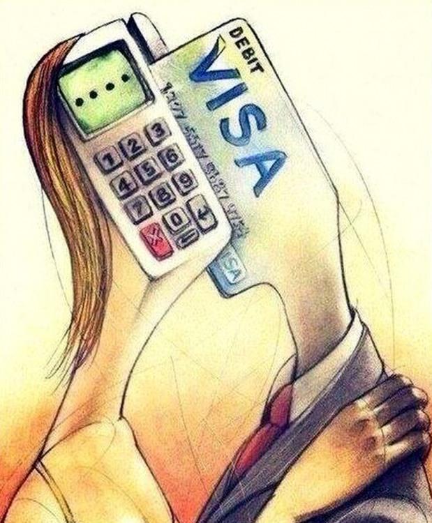 Картинка  про кредитную карту, мужчин, женщин и меркантильность