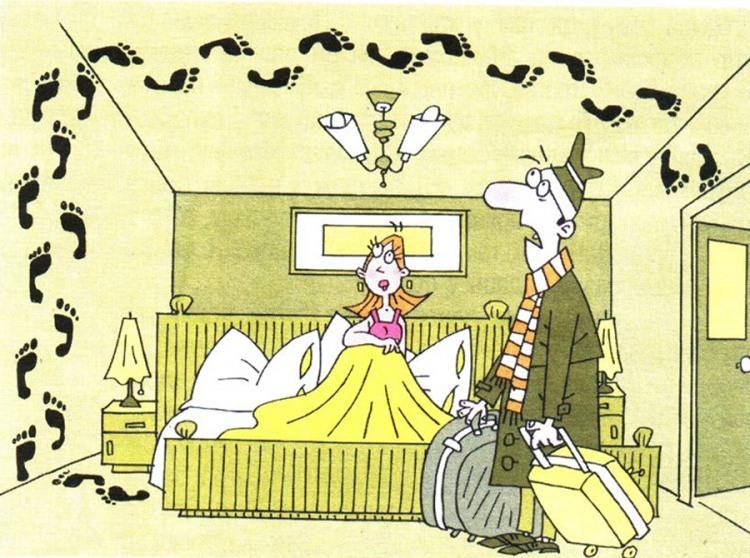 Картинка  про мужа, жену, следы и любовников
