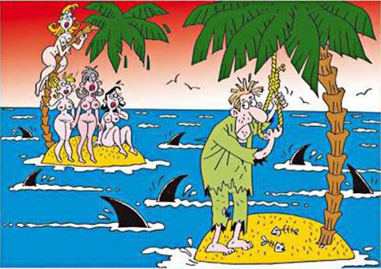 Картинка  про необитаемый остров, мужчин, женщин, акул, самоубийство, пошлый черный