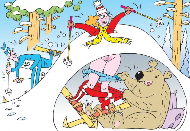 Картинка  про берлогу, лыжников, пошлый черный